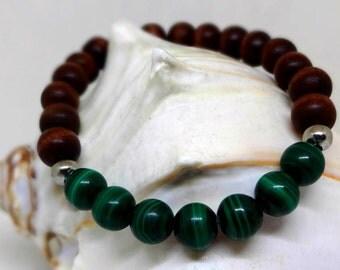 Men's Bracelet- Malachite Beads, Wood Beads, Stainless Steel Beads, Stretch Bracelet, Unisex, Deep healing Green, Dark Green, Nature, Earthy
