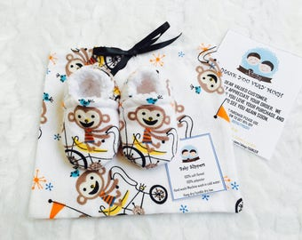 Baby slippers with drawstring bag, baby showergift, toddler slippers, money ride a bike slippers