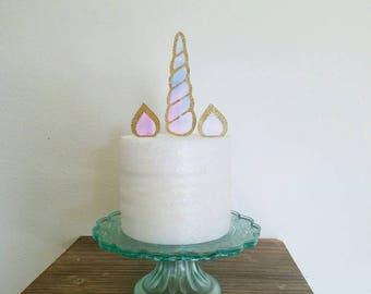 Unicorn cake topper, unicorn horn topper, unicorn horn cake topper,