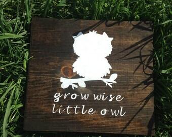 Nursery Decor 12X12 Grow Wise Little Owl