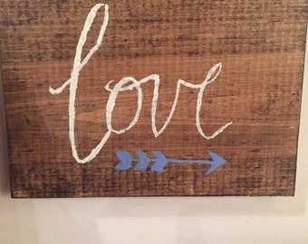 Rustic love arrow sign