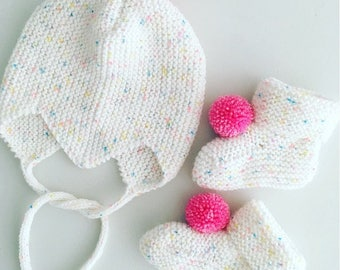 Hand knitted baby bonnet and booties set