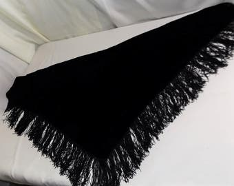 Vintage Black Velvet Fringed Double Sided Heavy Shawl from Bresee's, Oneonta, NY