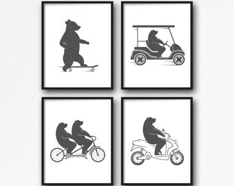"Funny Bear Print Set 4 of 8x10"", Animal Print, Cute Bear Art, Nursery Wall Art, Nursery Bear Print, Funny Animal print, Bear Riding Bicycle"
