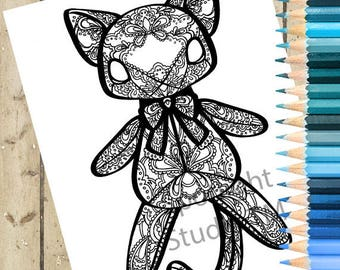 CAT Adult Coloring Page – PRINTABLE Cat Coloring Page Cat Plush Cat Doll Adult Coloring Book Page Cat Doll Cat Adult Coloring Page DOWNLOAD
