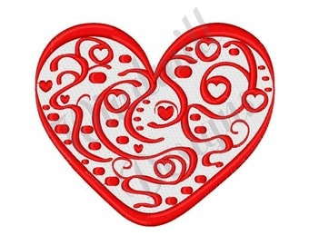 Valentine Swirl Heart - Machine Embroidery Design