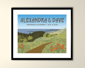 Mt Tamalpais Personalized Wedding  Vintage Travel Poster 11x14 Poster- Personalize with Names and date (frame not included)-KW1