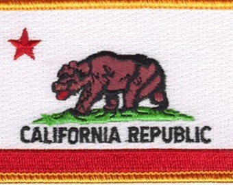 """The CALIFORNIA PATCH, Superior Quality Iron-On / Saw-On Embroidered Patch - 3.5"""" x 2.25"""" - Made in the USA"""