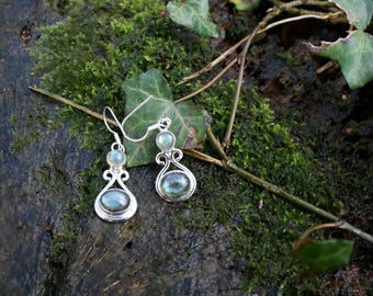 Sterling Silver Labradorite Drop Earrings