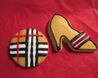 1 dozen individually wrapped Burberry inspired favor cookies