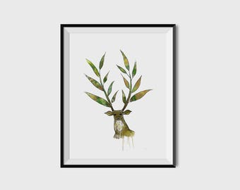 Watercolor Deer - Printable/Downloadable
