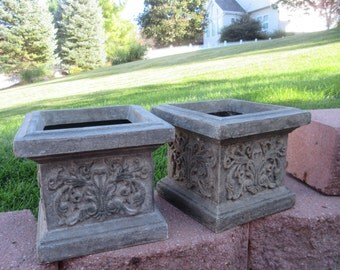 2 Vintage Square Urns Planters Pots Indoor Outdoor Patio Deck Garden Sunroom Greenhouse Flowers Floral Plants Shabby Chic