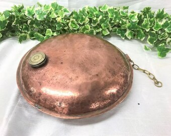 Lovely Antique 1900s  Victorian Rustic Copper Oval Bed Warmer