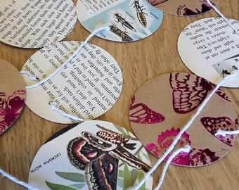 """Vintage """"Butterflies and Moths"""" book paper garland w/ pink metallics"""