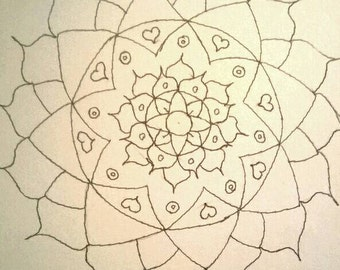 Unique hand-drawn mandala colouring notecard