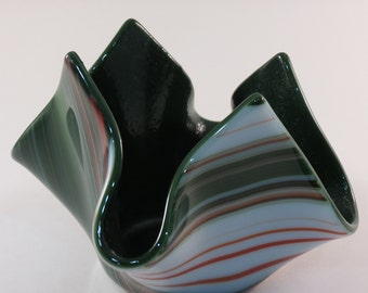 Fused Glass Christmas Candle Holder