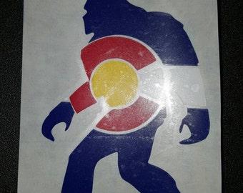 Bigfoot Colorado Decal, Colorado decal, Colorado yeti decal, Colorado flag decal, Colorado flag sticker, Colorado sticker