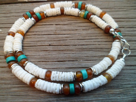 Natural Philippines shell, Turquoise, Carnelian Gemstone Necklace for Men, Ethnic Necklace, Mens Unisex  Beaded Necklace,  Gift for Men