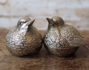Pewter Bird Salt and Pepper Pots