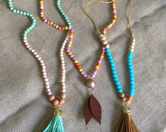 Essential oil diffuser/carrier necklace - Long beaded with tassle or feather accent
