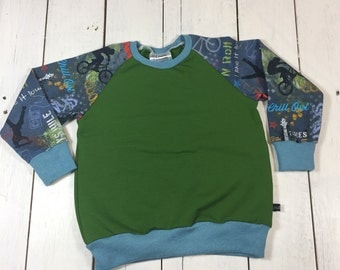 "Gr. 86 sweater ""Skater"" from sweat and Cotton Jersey, kid, boy, sweater, sweater, sweater, green, blue, skateboard, boy,."