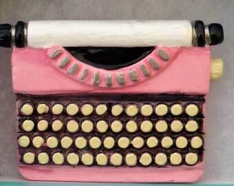 Large Hand-Painted Pink Typewriter Brooch