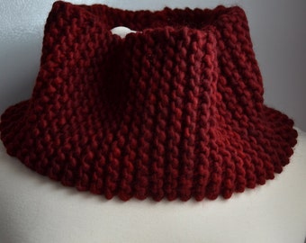 Wine Red Chunky Cowl