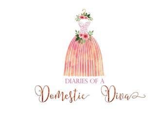 Dress Logo, Ballet logo, Ballerina logo, Hanger logo, dress logo, floral dress, Lace logo, Premade logo, Feminine logo, woman logo design