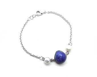 Gaea Bracelet - Rhodium - Lapis Lazuli