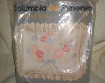 Vintage Columbia Minerva Candlewicking Kit for Pastel Floral Pillow