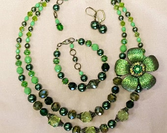 Dorothy - Retro Inspired Full Parure 3 pc set in Vintage Leaf Green Pearls and AB Crystal by Seditious Jewelry