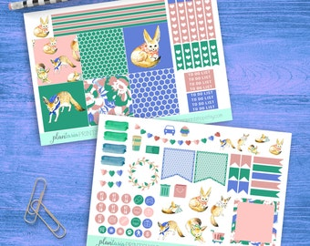 Fennec Foxes, Mini Happy Planner, 2 Page Planner Sticker Kit, Weekly Kit, Checklists, Icons, Fox Stickers, Mini Stickers, BuJo, MAMBI