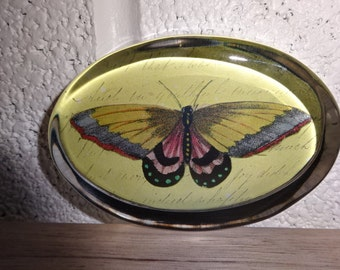 Oval Glass Paperweight with Butterfly picture inside/Vintage