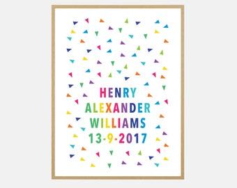 Custom Baby Name Print/Poster - Geometric Rainbow
