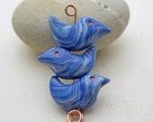 Swirly Birds Set in Cobalt Blue