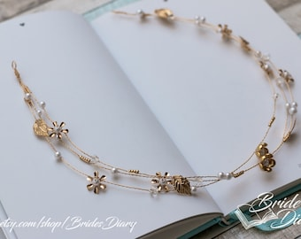 Wedding hair jewelry, gold leaves with pearls, flowers and rhinestones, triple golden bridal wreath