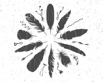 Boho Feathers SVG file Boho Feathers SVG Boho svg Feather SVG Cut File Tribal Feathers svg dxf eps files for Silhouette studio svg clipart