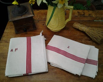 4 x Vintage FRENCH Linen rustic red-stripeTEATOWELS - monogrammed, in perfect condition ! - in sets of two - each set :