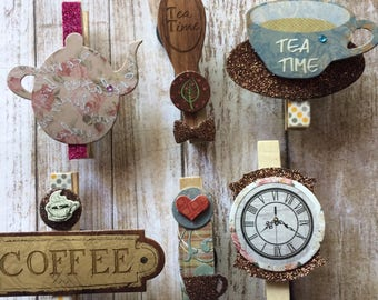 Set of 6 | Coffee | Tea | Decorative | Clothespins | with | Magnet | Back
