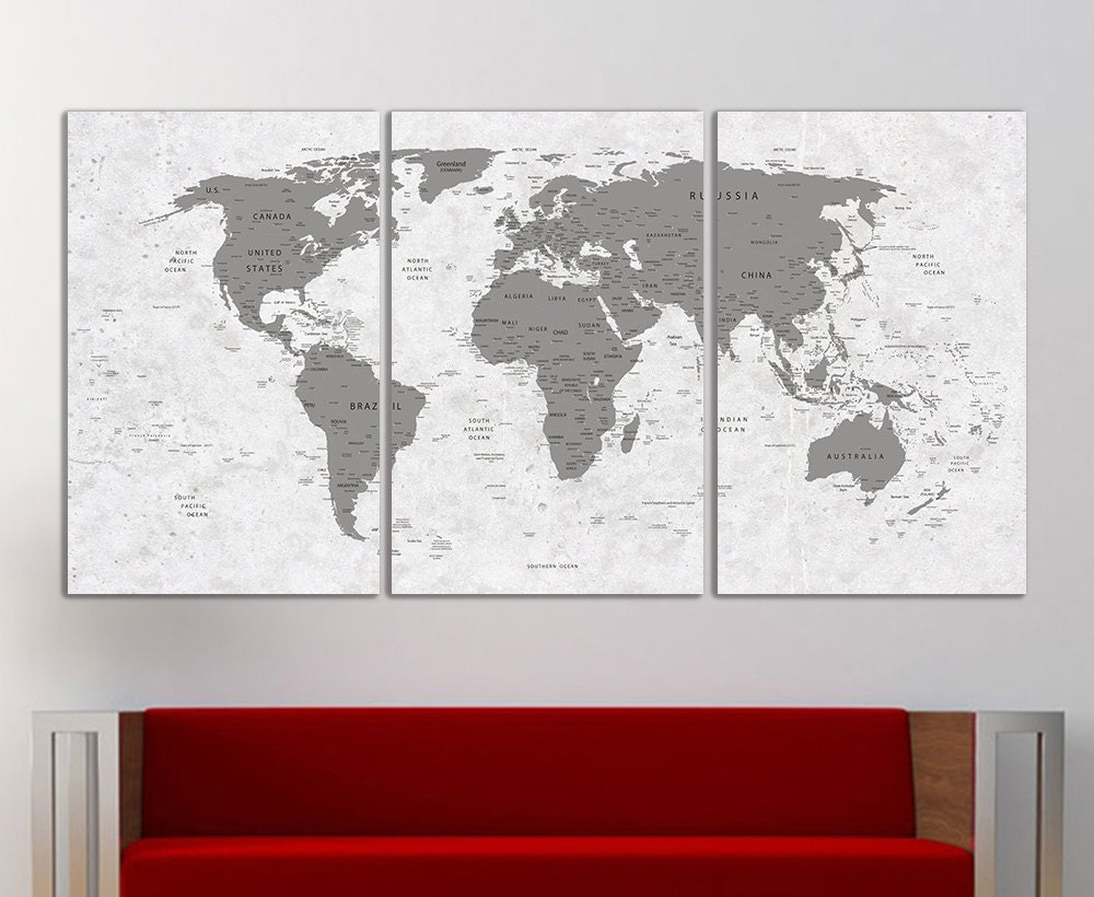 world map canvas print wall art push pin world map wall decor. Black Bedroom Furniture Sets. Home Design Ideas