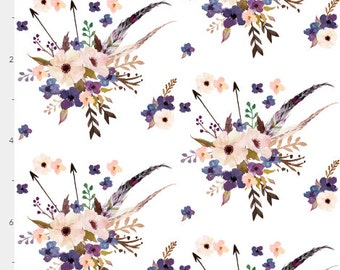 Boho Purple Flowers Crib Sheet. Fitted Crib Sheet. Baby Bedding. Crib Bedding. Minky Crib Sheet. Crib Sheets. Purple Flowers.