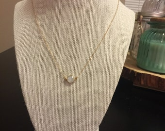 Small moonstone bezel necklace/bezel pendant necklace/gold moonstone bezel necklace/gold bezel necklace