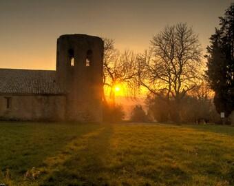 Sunset in Tuscany - Sunset - Photography - Photo - Art Photo - Church - Italy - Pienza - Tuscany -Sun - Colorful