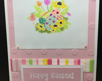 Easter Card, Pink Easter Card, Embossed Card, Hand Colored Image, Fancy Handmade Card