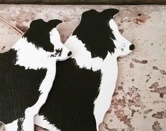 Hanging Border Collie Dog Ornament, Handpainted Wooden Collie, Collie Decoration, Collie Ornament, Dog lover gift, Collie Dog Keepsake