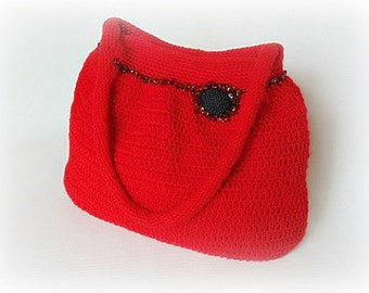 SALE 20% off, Crochet handbag, red handbag, crochet shoulder bag, crochet handbag, crocheted bag, handbag, women fashion, crochet bag, red