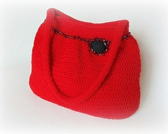 Crochet handbag, red handbag, crochet shoulder bag, crochet handbag, crocheted bag, woman handbag, women fashion, red bag, crochet bag red