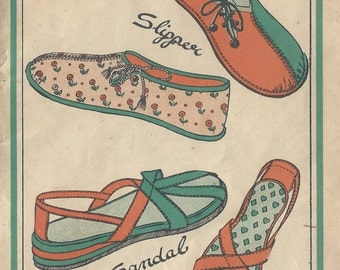 1940s Vintage Sewing Pattern SANDLE & SLIPPER (R967) Style 4633