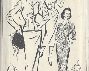 "1958 Vintage Sewing Pattern B34"" DRESS & JACKET (R450)  Style 1014"