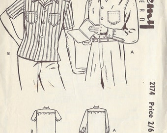 1940s Vintage Sewing Pattern Size16-16 1/2 MENS SHIRT (1053) By Academy